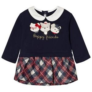 Mayoral Girls Dresses Navy Navy Plaid Puppies Applique Dress