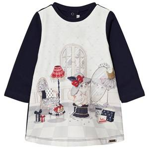 Mayoral Girls Dresses Navy Navy Dressing up Cat Print Dress