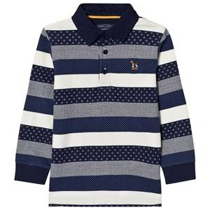 Mayoral Boys Tops Navy Navy and White Stripe Long Sleeve Pique Polo