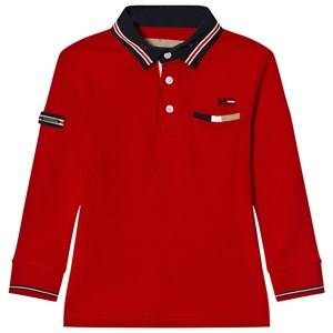 Mayoral Boys Tops Red Red Long Sleeve Polo with Red Tipping