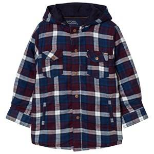 Mayoral Boys Jumpers and knitwear Navy Navy Check Padded Hooded Shacket