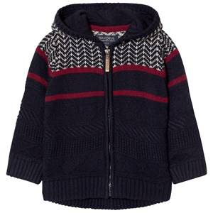 Mayoral Boys Jumpers and knitwear Navy Navy and Red Fairisle Knit Hoody