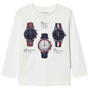 Mayoral Boys Tops White White Watch Print Tee