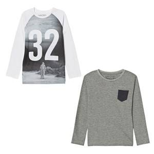 Mayoral Boys Tops Grey Grey Graphic Print Tee and Stripe Tee Set