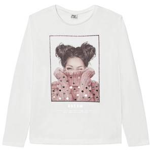 Mayoral Girls Tops Cream Off-White Girl Print Sequin Tee