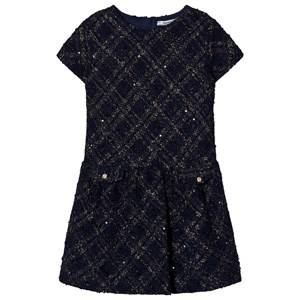 Mayoral Girls Dresses Navy Navy Lurex Jersey-Tweed Dress