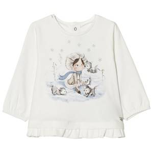 Mayoral Girls Tops White Off White Winter Girl Print Frill Tee