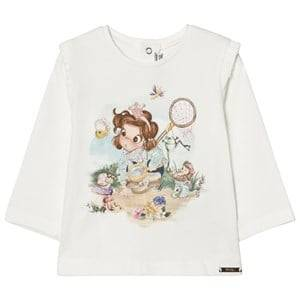 Mayoral Girls Tops White Off-white Butterfly Girl Print Tee