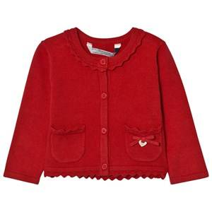 Mayoral Girls Jumpers and knitwear Red Red Knit Cardigan with Scalloped Collar
