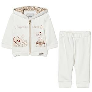 Mayoral Girls Clothing sets White Off-white Cat Embroidered Tracksuit