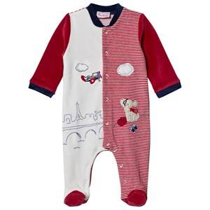Mayoral Boys All in ones Red Red and Cream Puppy and Plane Applique Footed Baby Body