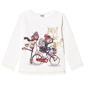 Mayoral Girls Tops White White Bicycle Girls Glitter Tee