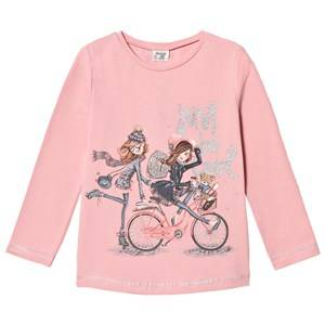 Mayoral Girls Tops Pink Pink Bicycle Girls Glitter Tee