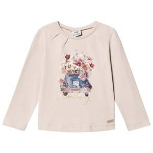 Mayoral Girls Tops Beige Beige Floral Car Print Tee
