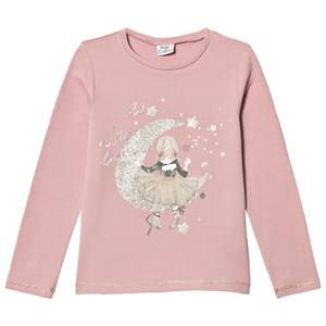 Mayoral Girls Tops Pink Light Rose Girl and Moon Print Tee