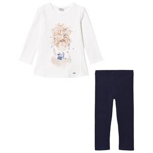 Mayoral Girls Bottoms White White Ballerina Girl and Navy Leggings Set