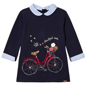 Mayoral Girls Dresses Navy Navy Bike Embroidered Sweat Dress