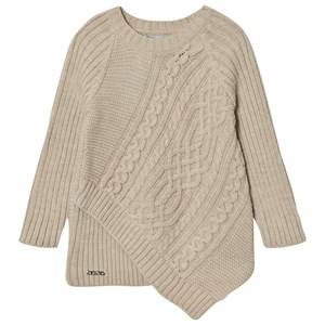 Mayoral Girls Jumpers and knitwear Beige Beige Cable Knit Asysmetric Sweater