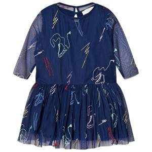 Stella McCartney Kids Girls Dresses Navy Navy Luna Embroidered Skates Tulle Dress