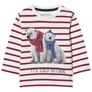 Mayoral Boys Tops Red Red Stripe Polar Bear Print Long Sleeve Tee