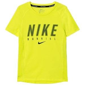 NIKE Boys Tops Yellow Dry Miler Running Top Volt