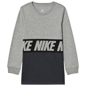 NIKE Boys Tops Grey Sportswear Advance 15 Long Sleeve Tee Grey Heather/Black