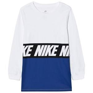 NIKE Boys Tops White Sportswear Advance 15 Long Sleeve Tee White/Blue Jay