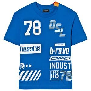 Diesel Boys Tops Blue Blue All Over Logo Tee