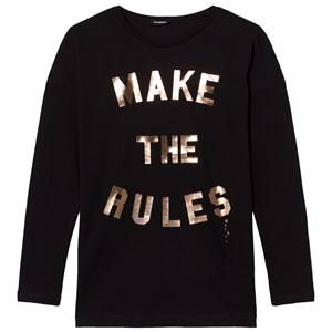 Diesel Girls Tops Black Black Logo Long Sleeves Tee