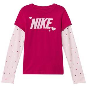 NIKE Girls Tops Pink Pink Long Sleeve Logo Tee