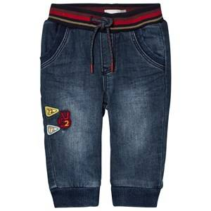 Catimini Boys Bottoms Blue Mid Wash Pull Up Jeans with Stripe Waistband