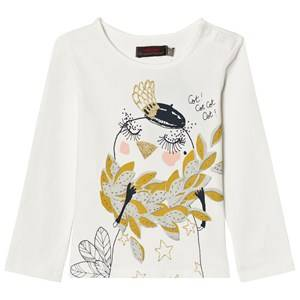 Catimini Girls Tops White Off White Bird Print Tee