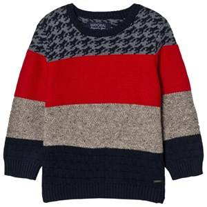 Mayoral Boys Jumpers and knitwear Red Red, Navy and Houndstooth Knit Jumper