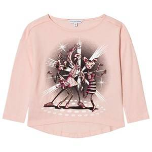 Little Marc Jacobs Girls Tops Pink Pale Pink Disco Animal Print Tee