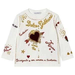 Dolce & Gabbana Girls Tops White Amore e Fantasia Top