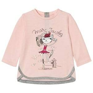 Little Marc Jacobs Girls Tops Pink Pale Pink Cat Ballerina Print Tee