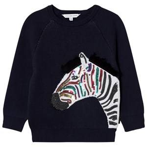 Little Marc Jacobs Girls Jumpers and knitwear Navy Navy Applique Sequin Zebra Sweatshirt