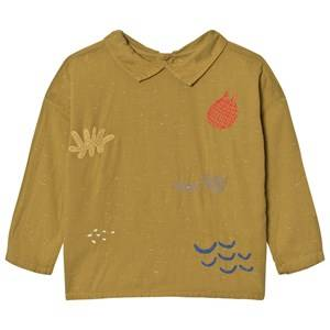 Bobo Choses Girls Tops Yellow Buttons Blouse Sea Junk Embroidery