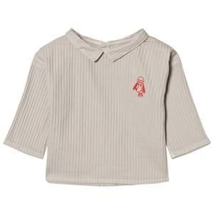 Bobo Choses Unisex Tops Beige Baby Button Blouse Loup Embroidery