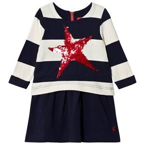 Tom Joule Girls Dresses Navy Navy Stripe Jersey Dress with Sequin Star