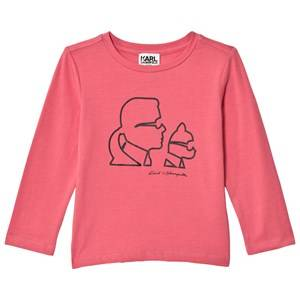 Karl Lagerfeld Kids Girls Tops Pink Pink Karl and Choupette Printed Tee