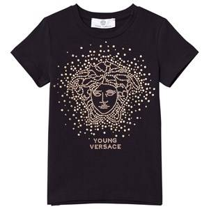 Young Versace Girls Tops Navy Navy and Gold Stud Medusa Tee