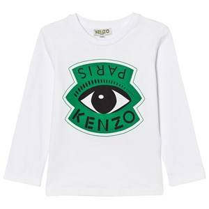 Kenzo Boys Tops White White Eye and Eiffel Tower Print Long Sleeve Tee