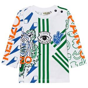 Kenzo Boys Tops White White and Multi All Over Icons Print Tee
