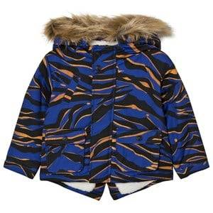 Kenzo Boys Coats and jackets Blue Blue Tiger Print Parka with Fleece Lining
