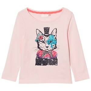 Billieblush Girls Tops Pink Pale Pink Cat Hat Print Tee