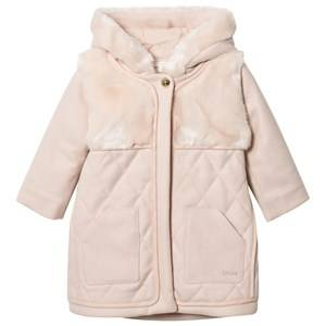 Chloé Girls Coats and jackets Pink Pink Wool Quilted Faux Fur Hooded Coat