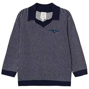 Carrément Beau Boys Jumpers and knitwear Navy Navy White Knit Collar Sweater