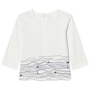 Carrément Beau Girls Tops White White Sail Boat Sea Print Tee