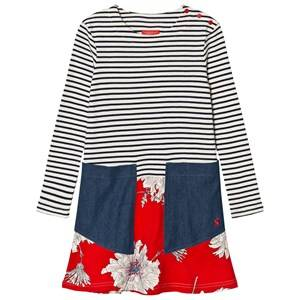 Joules Girls Dresses Multi Cream Navy Stripe Floral Dress